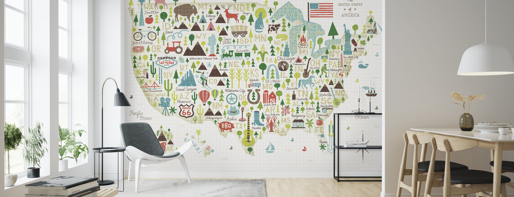 Illustrated USA - Wallpaper - Living Room