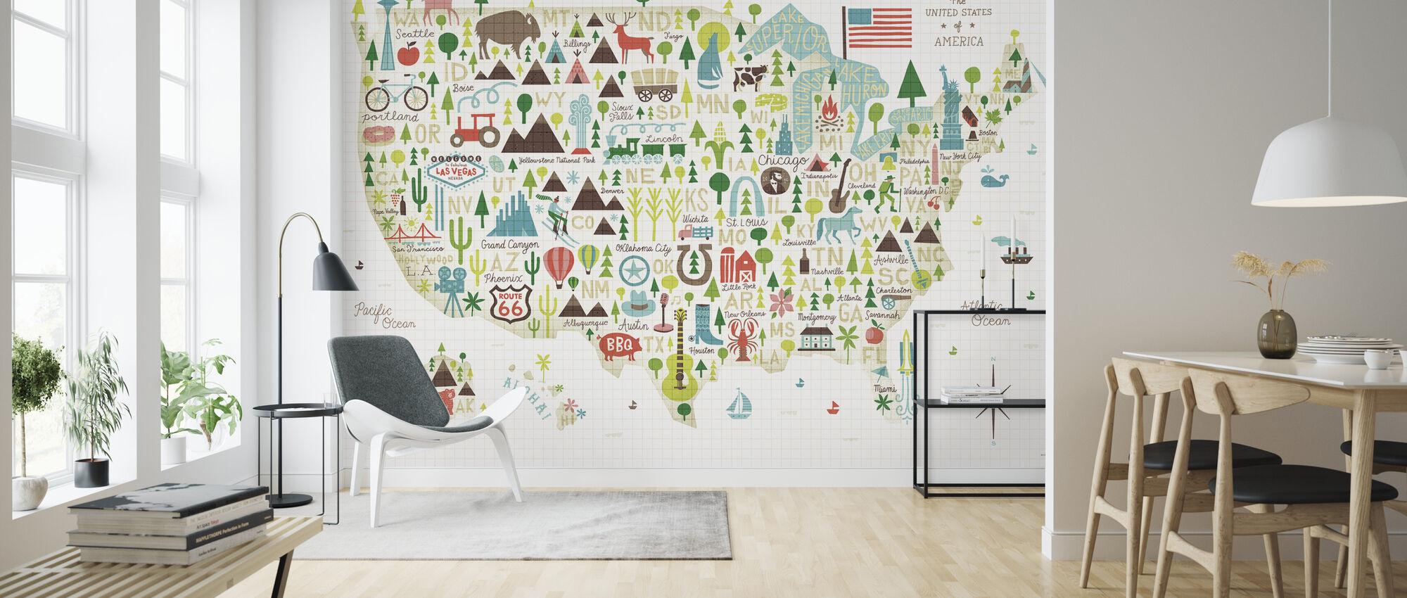 Illustrated USA - Wallpaper - Living Room