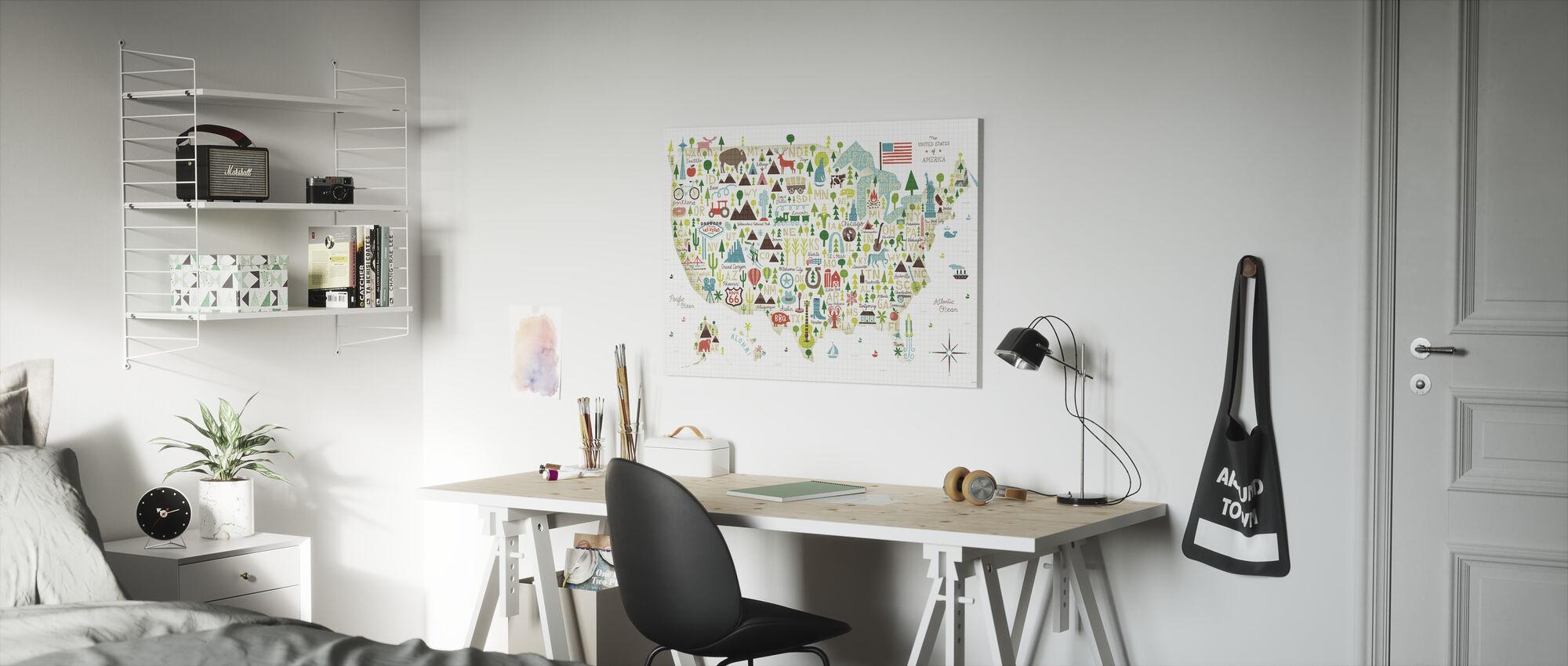 Illustrated USA - Canvas print - Kids Room