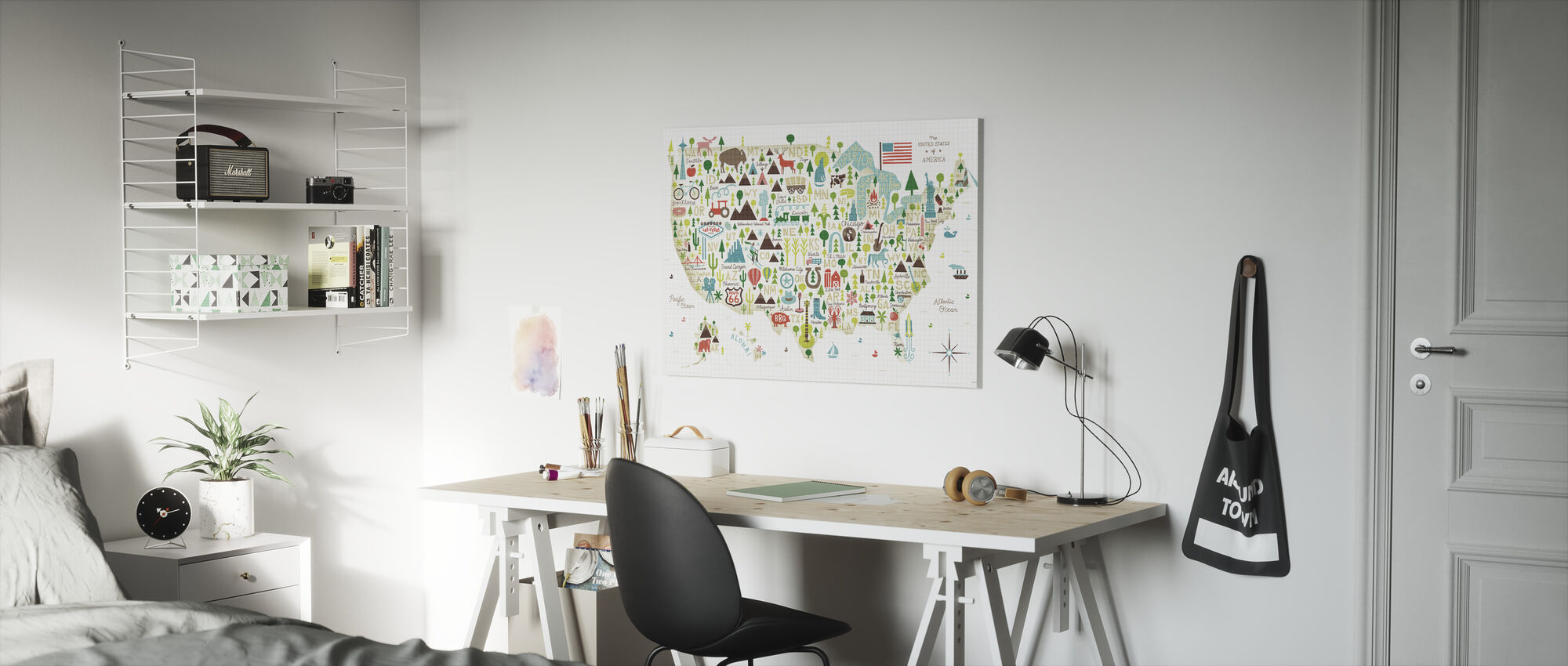 Geïllustreerde VS - Canvas print - Kinderkamer