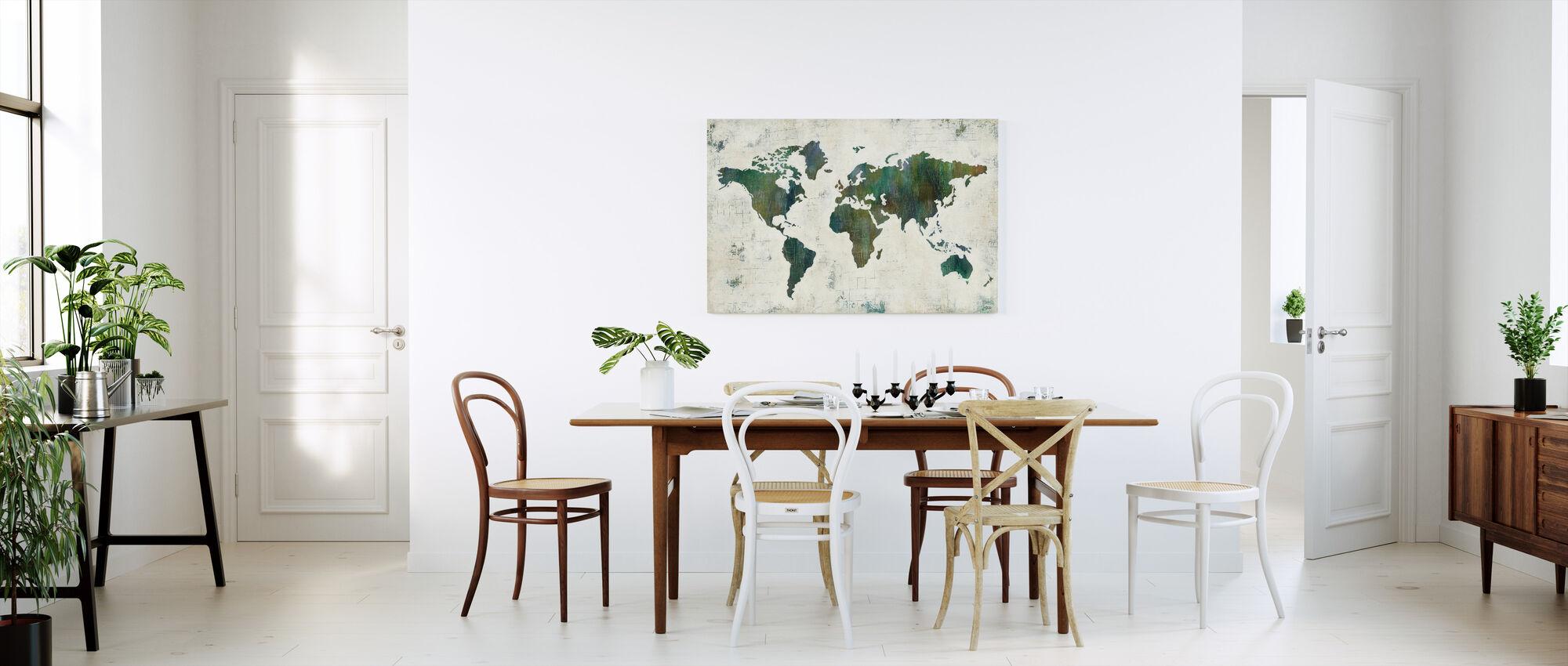 Opdag verden - Billede på lærred - Køkken