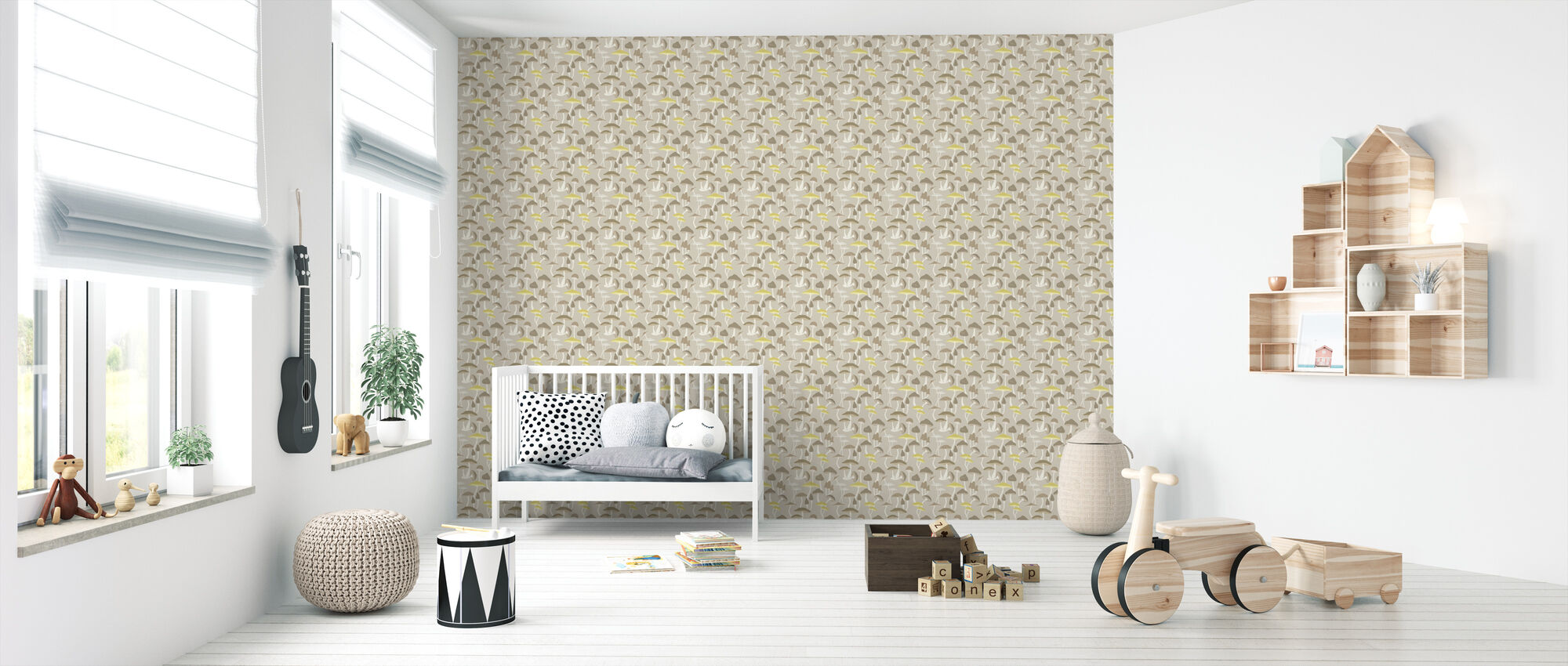 Mushrooms Yellow - Wallpaper - Nursery