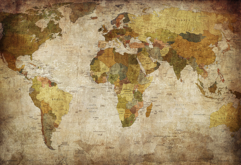 Old Vintage World Map Popular Wall Mural Photowall