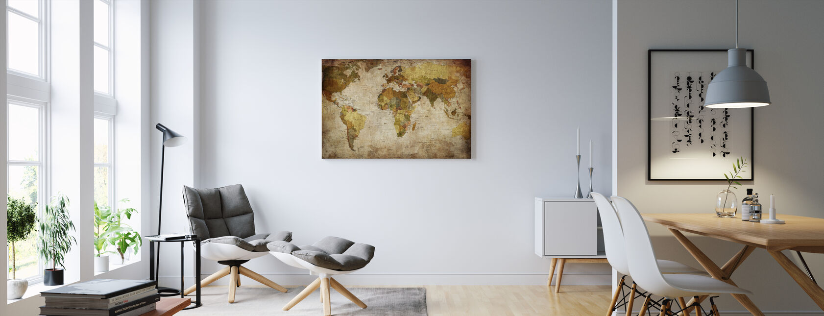 Old Vintage World Map - Canvas print - Living Room