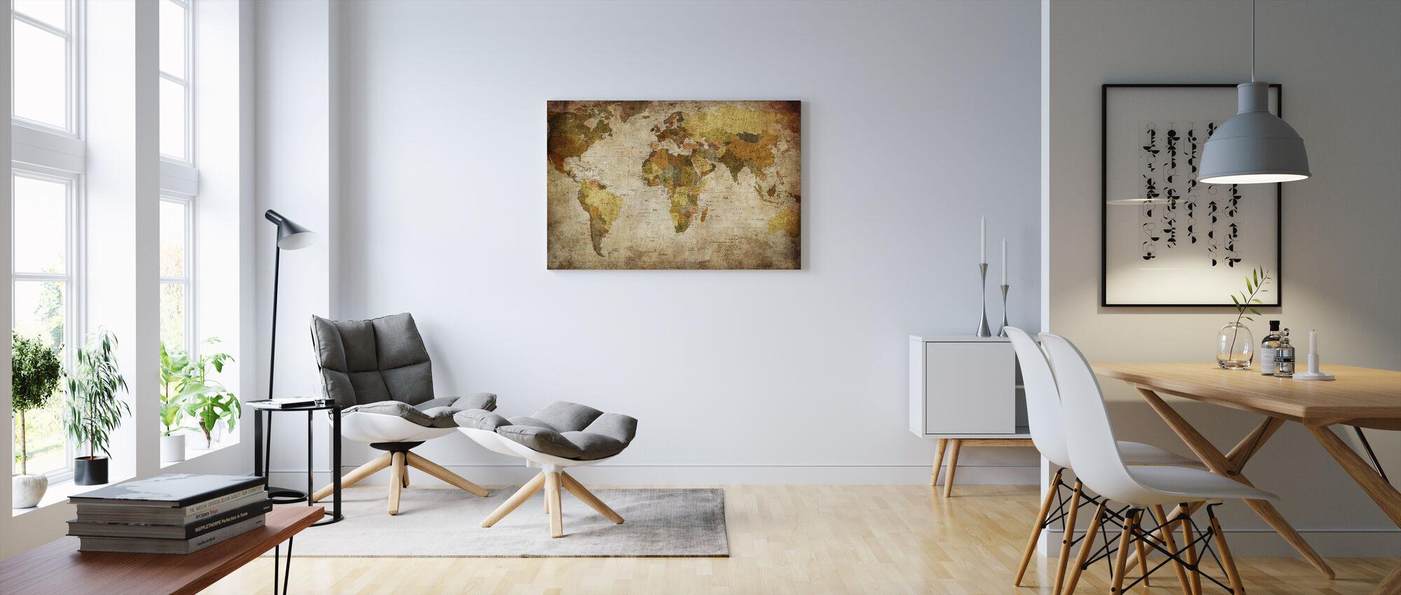 Old Vintage Maailman Kartta - Canvastaulu - Olohuone
