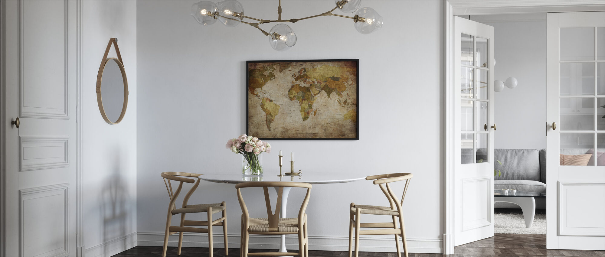 Old Vintage World Map - Framed print - Kitchen