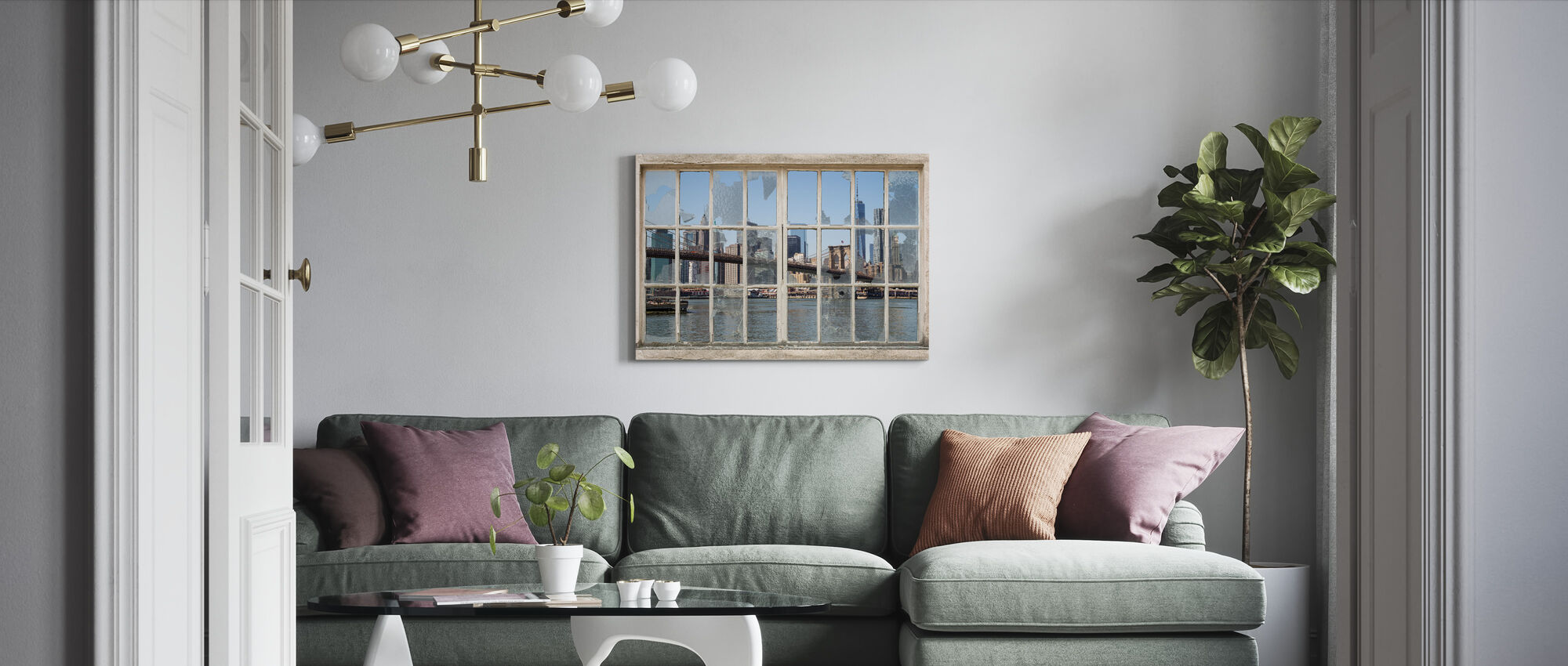 Brooklyn Bridge through Broken Window - Canvas print - Living Room