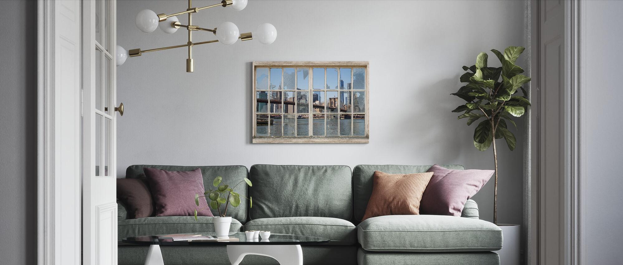 Ponte di Brooklyn attraverso la finestra rotta - Stampa su tela - Salotto