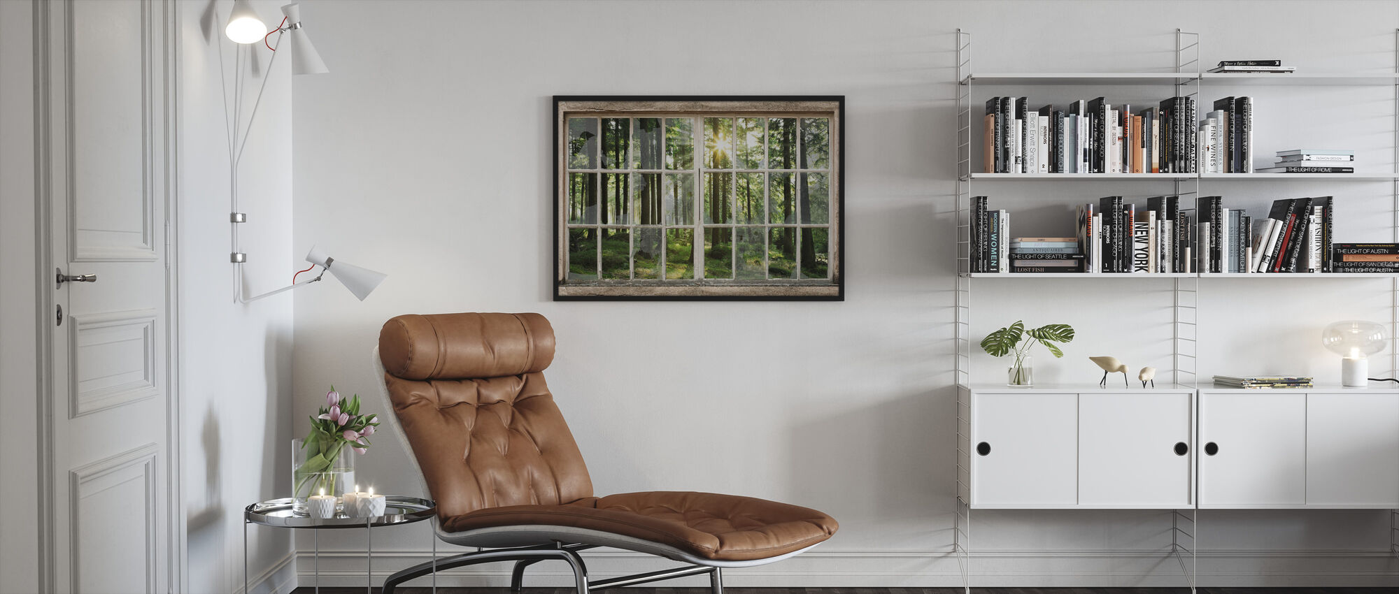 Sunset in Forest Through Broken Window - Framed print - Living Room