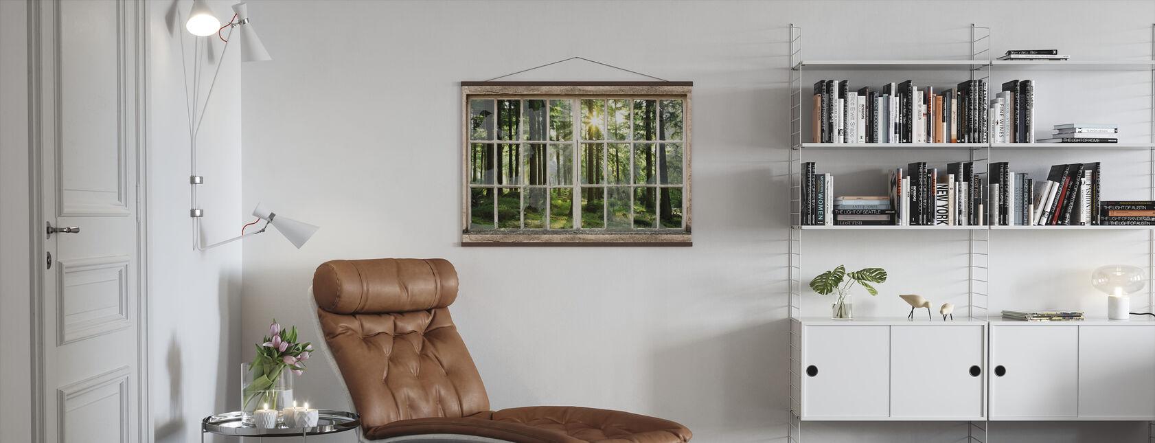 Zonsondergang in bos door gebroken venster - Poster - Woonkamer