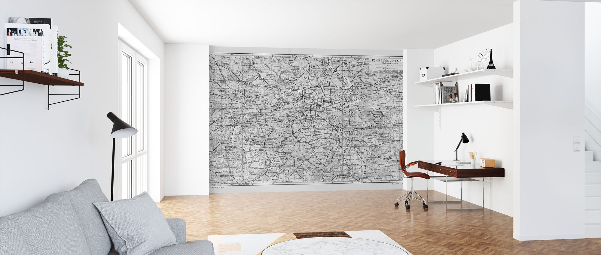 London Map Gray - Wallpaper - Office