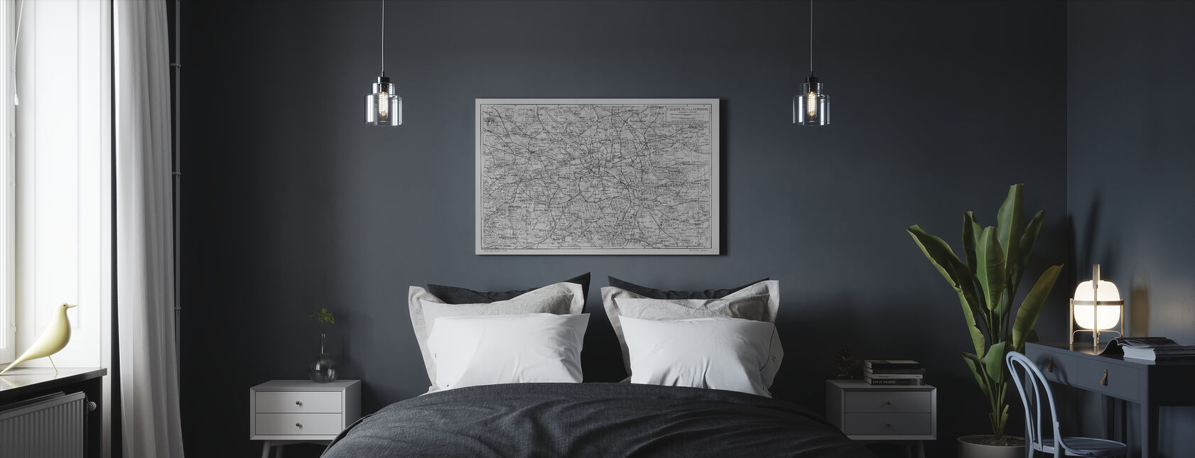 London Map Gray - Canvas print - Bedroom