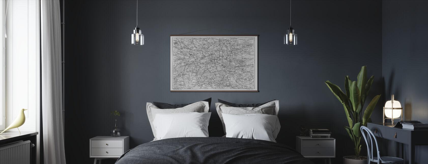 Lontoo Kartta Harmaa - Juliste - Makuuhuone