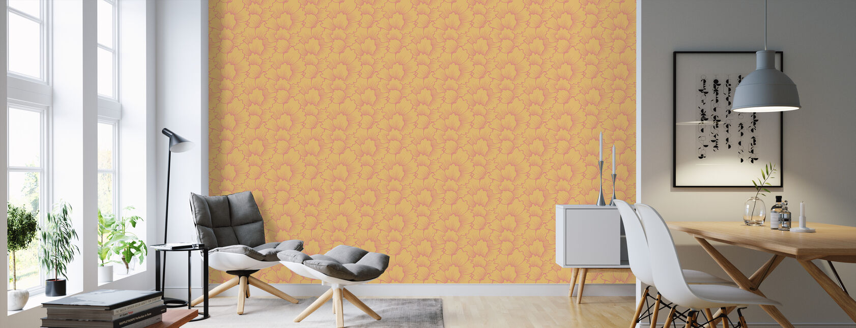 Mostly Coral Pink on Yellow - Wallpaper - Living Room