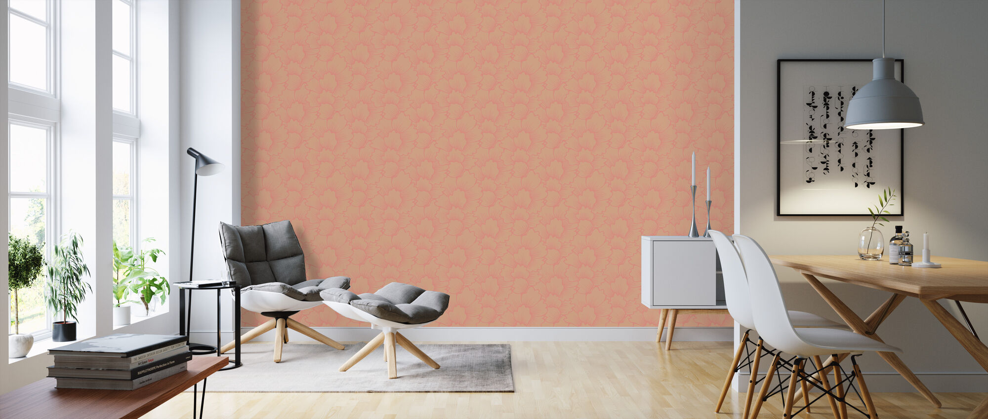 Mayormente rosa coral sobre rosa - Papel pintado - Salón