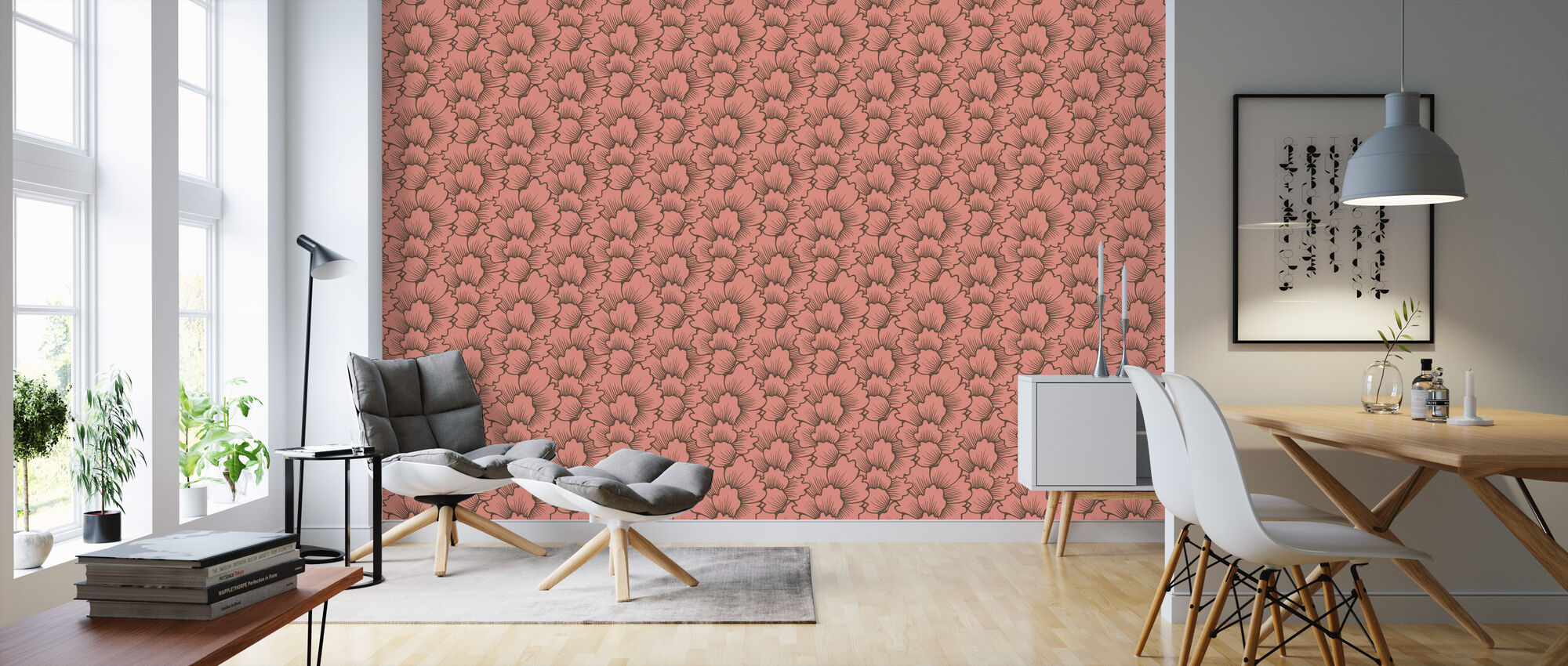Mostly Coral Brown on Pink - Wallpaper - Living Room