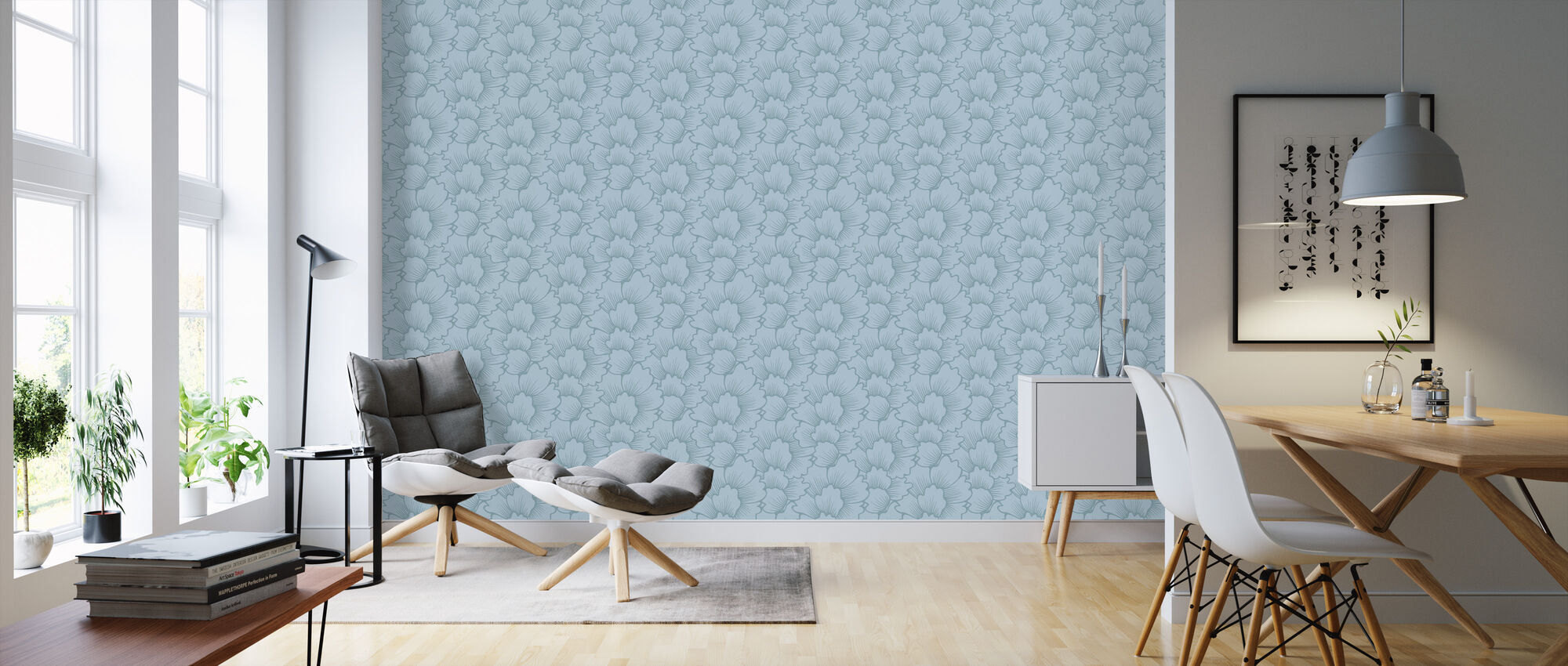 Mostly Coral Blue on Blue - Wallpaper - Living Room