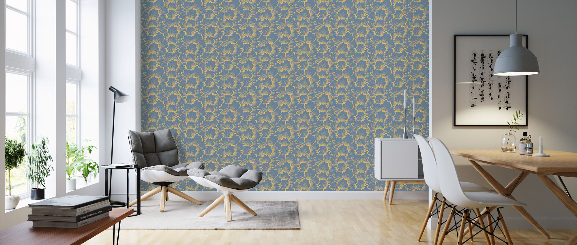 Mostly Coral Yellow on Blue - Wallpaper - Living Room