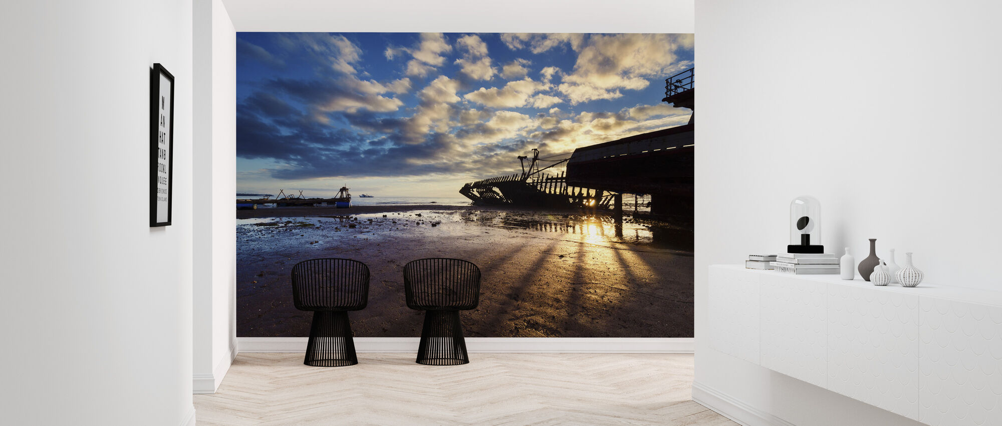 Shipwreck Silhouettes and Sunrise - Wallpaper - Hallway