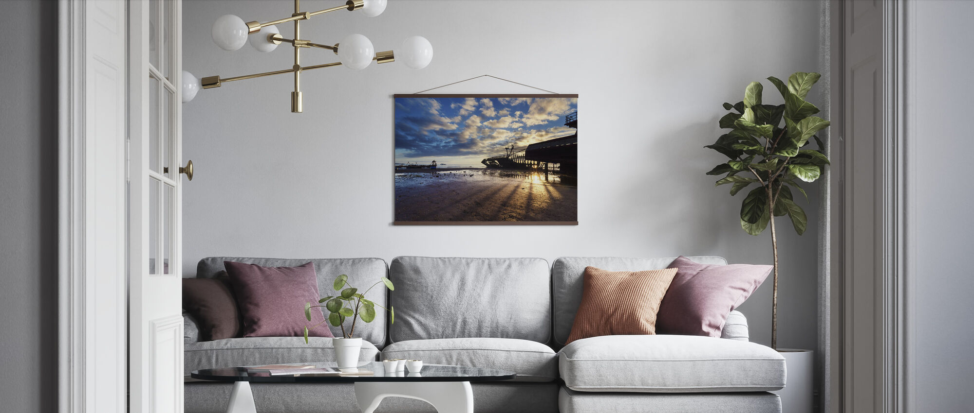Shipwreck Silhouettes and Sunrise - Poster - Living Room