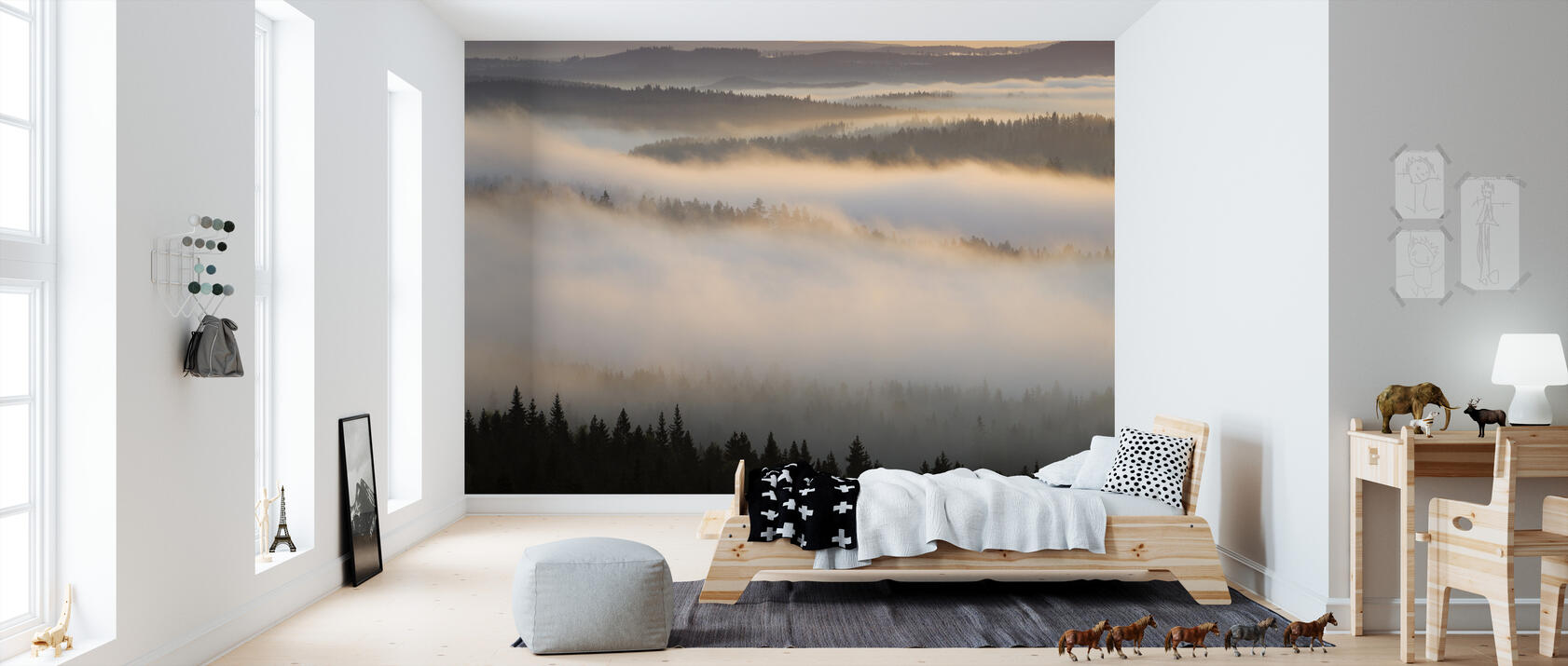 fog in bergslagen sweden fototapete nach ma photowall. Black Bedroom Furniture Sets. Home Design Ideas