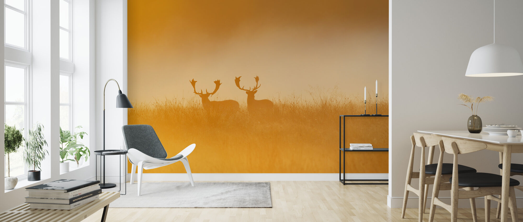Deer in Yellow Light - Wallpaper - Living Room