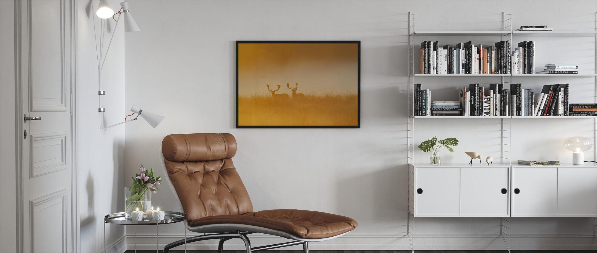 Deer in Yellow Light - Framed print - Living Room