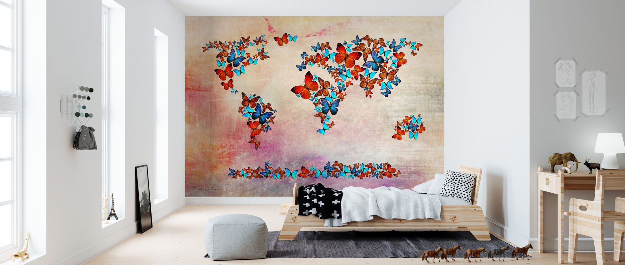 Vlinders vormen Wereld Kaart - Behang - Kinderkamer