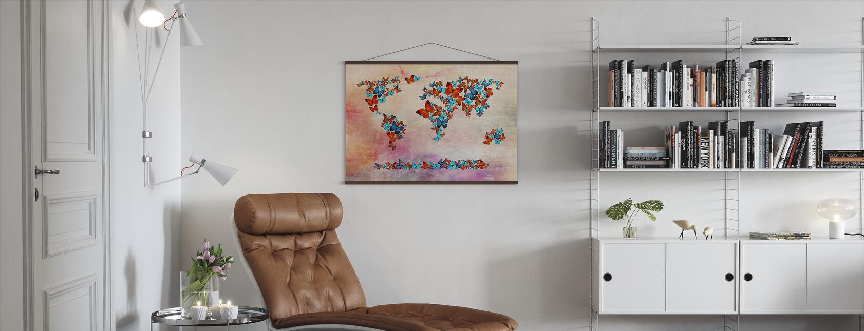 Vlinders vormen Wereld Kaart - Poster - Woonkamer