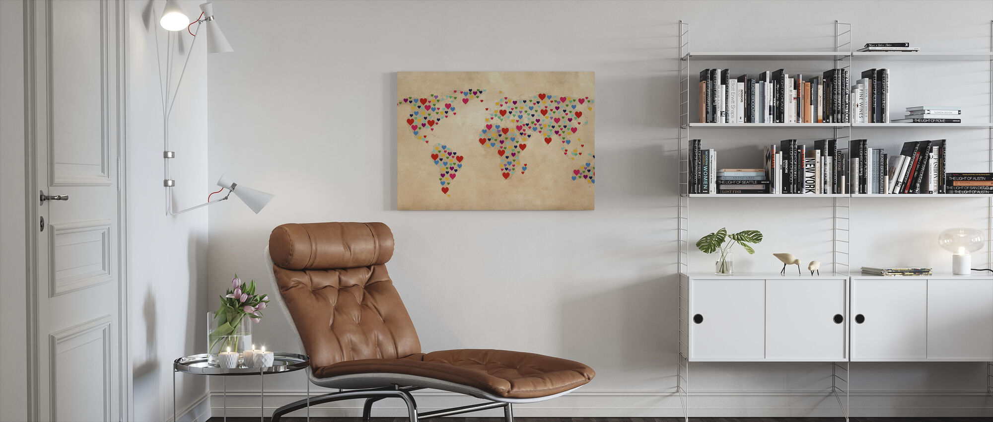 Map of Hearts - Canvas print - Living Room
