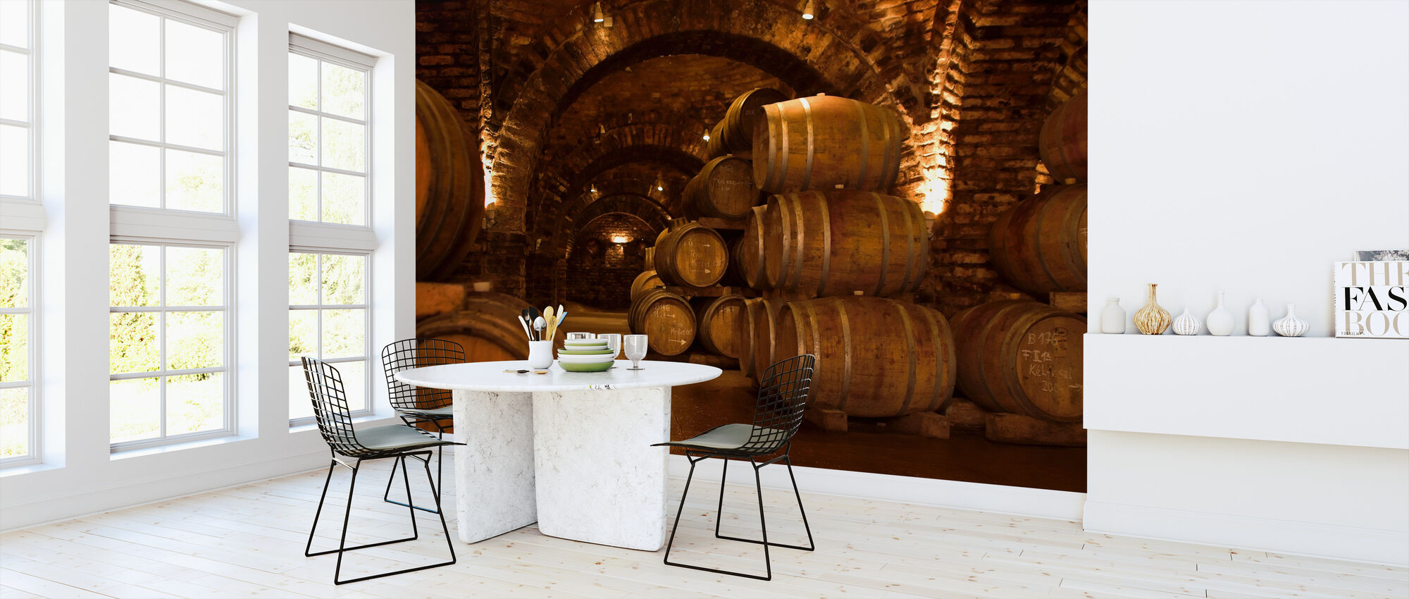 Wine Cellar Barrels - Wallpaper - Kitchen