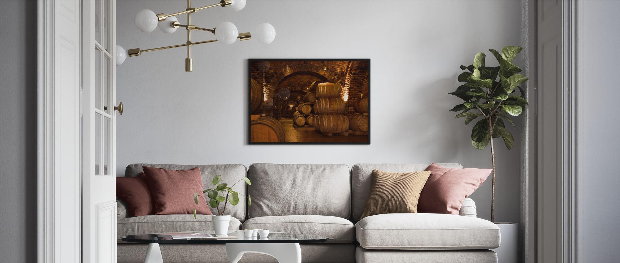 Wine Cellar Barrels - Framed print - Living Room