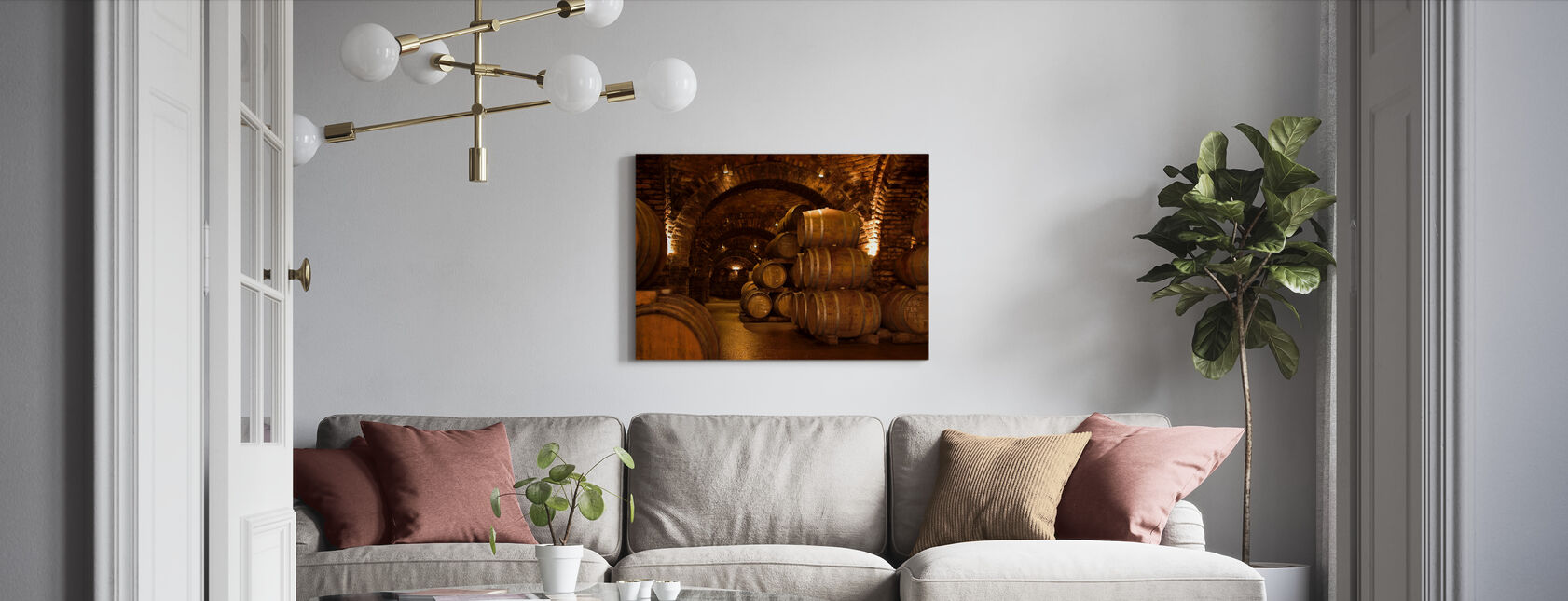 Wine Cellar Barrels - Canvas print - Living Room