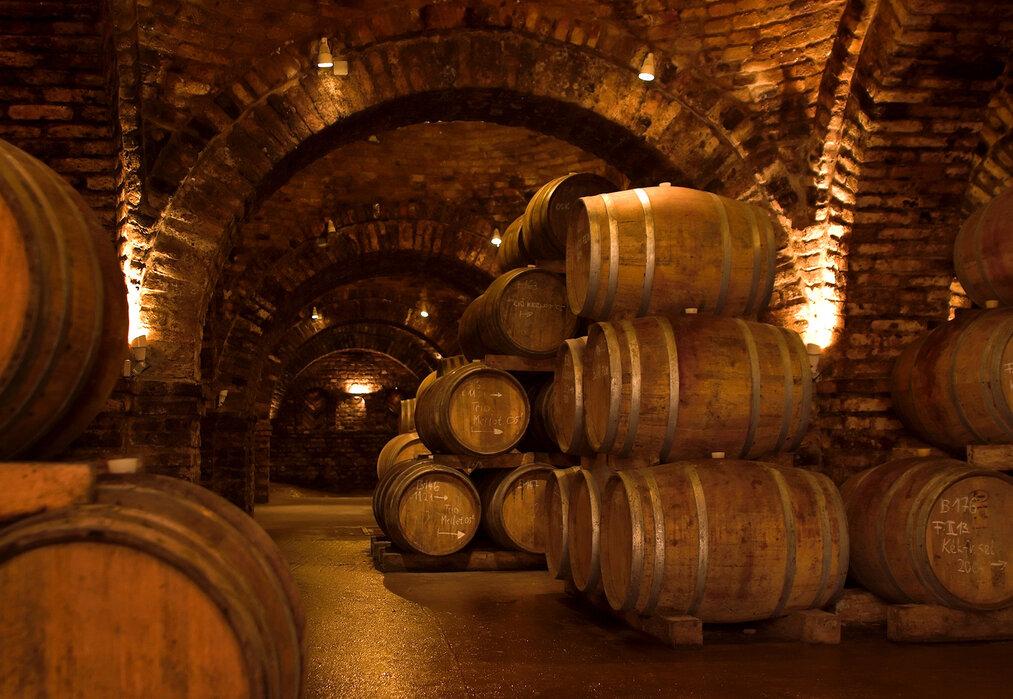 Wooden barrels for wine in cellar — Stock Photo ...   Barrel Wine Cellar