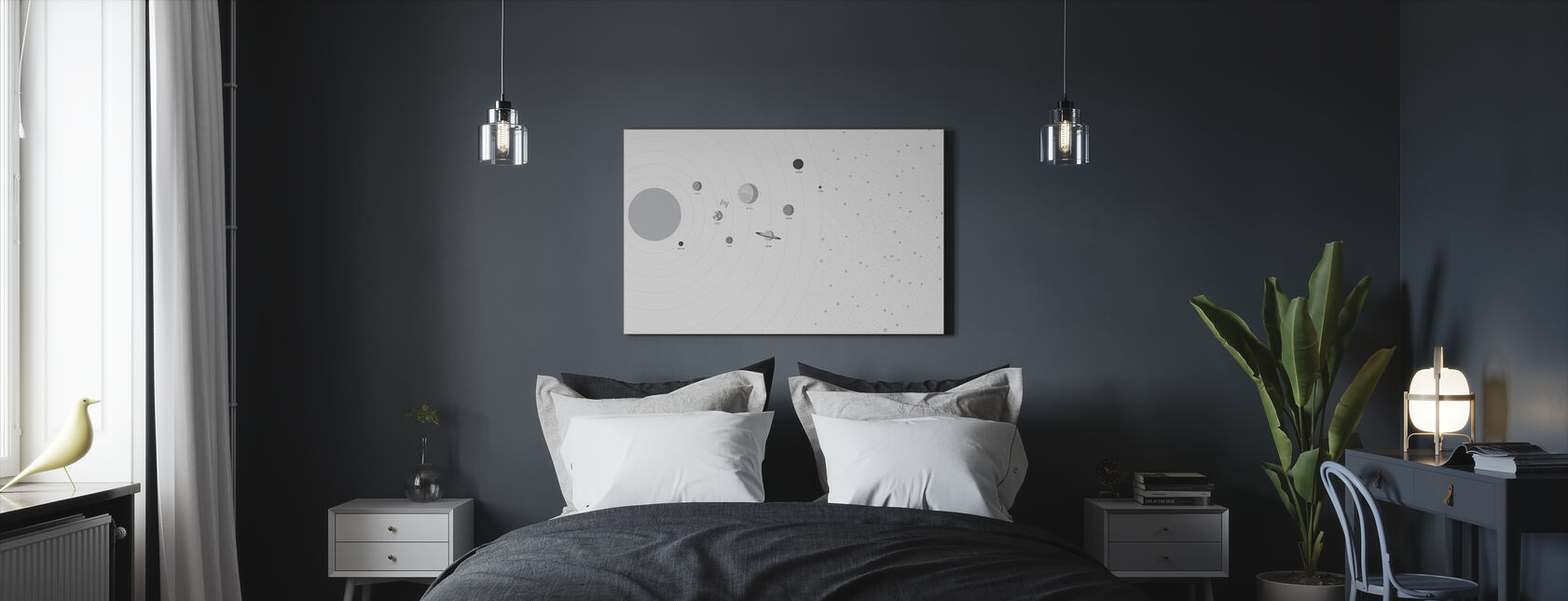 Planets and Stars - Canvas print - Bedroom