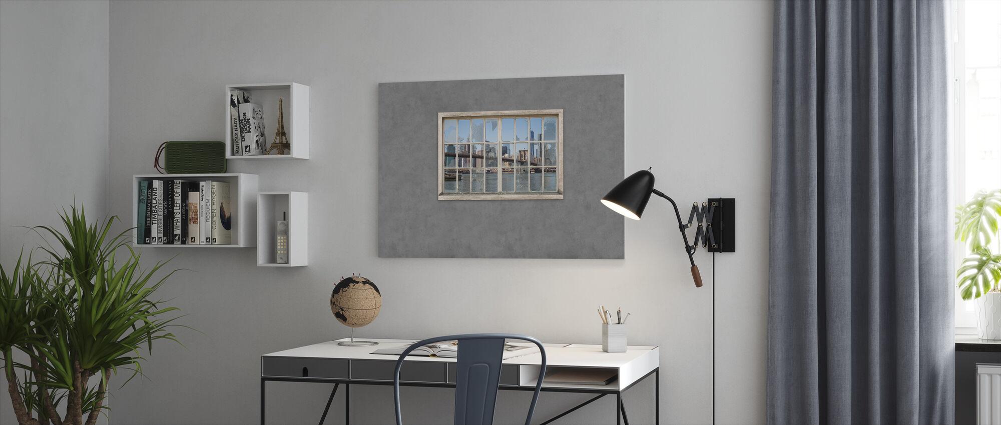Uitzicht vanuit Kelder Ramen - Brooklyn Bridge - Canvas print - Kantoor