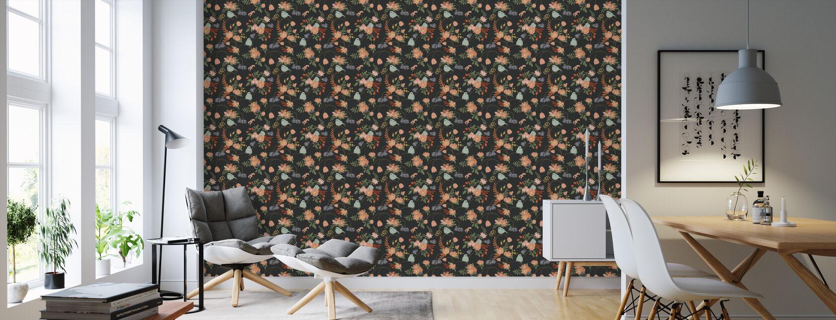 Bluebird Dark Grey - Wallpaper - Living Room
