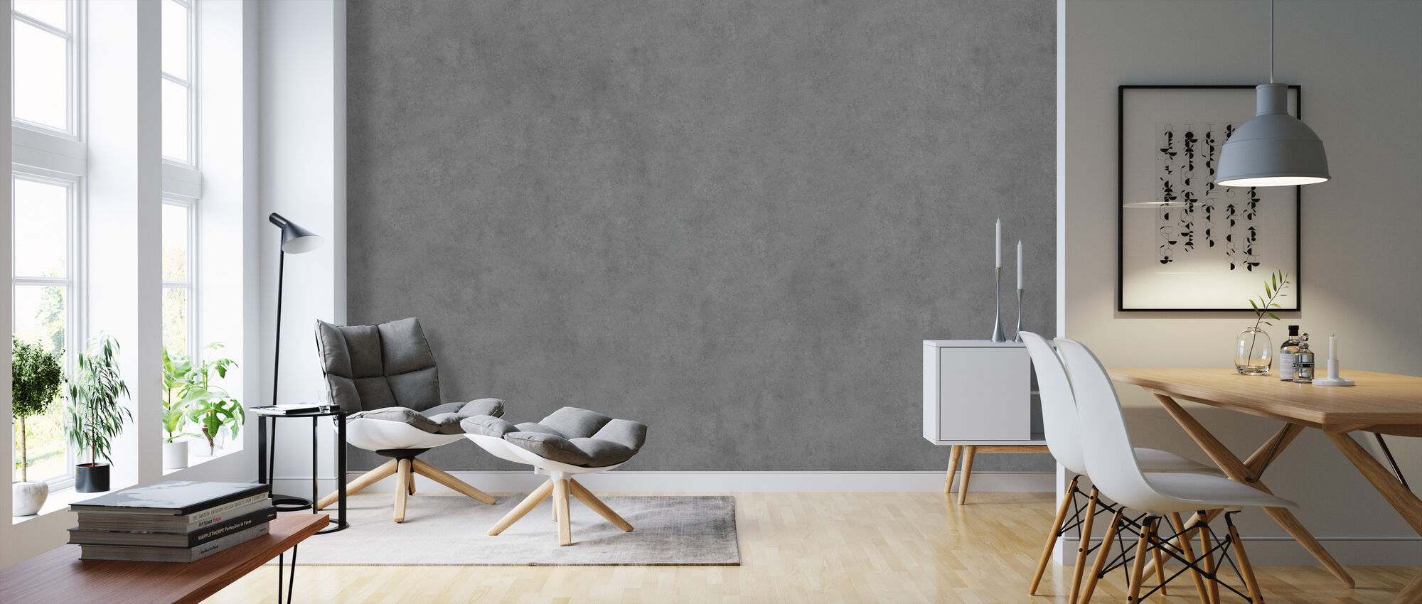 Smooth Grey Concrete Wall - Wallpaper - Living Room