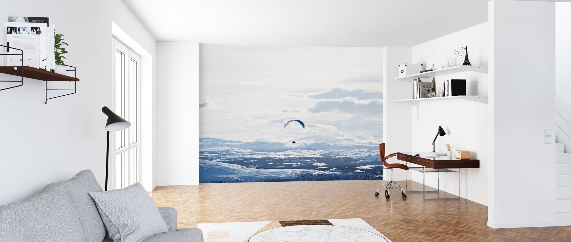 Parachuting in Åre, Sweden - Papel pintado - Oficina