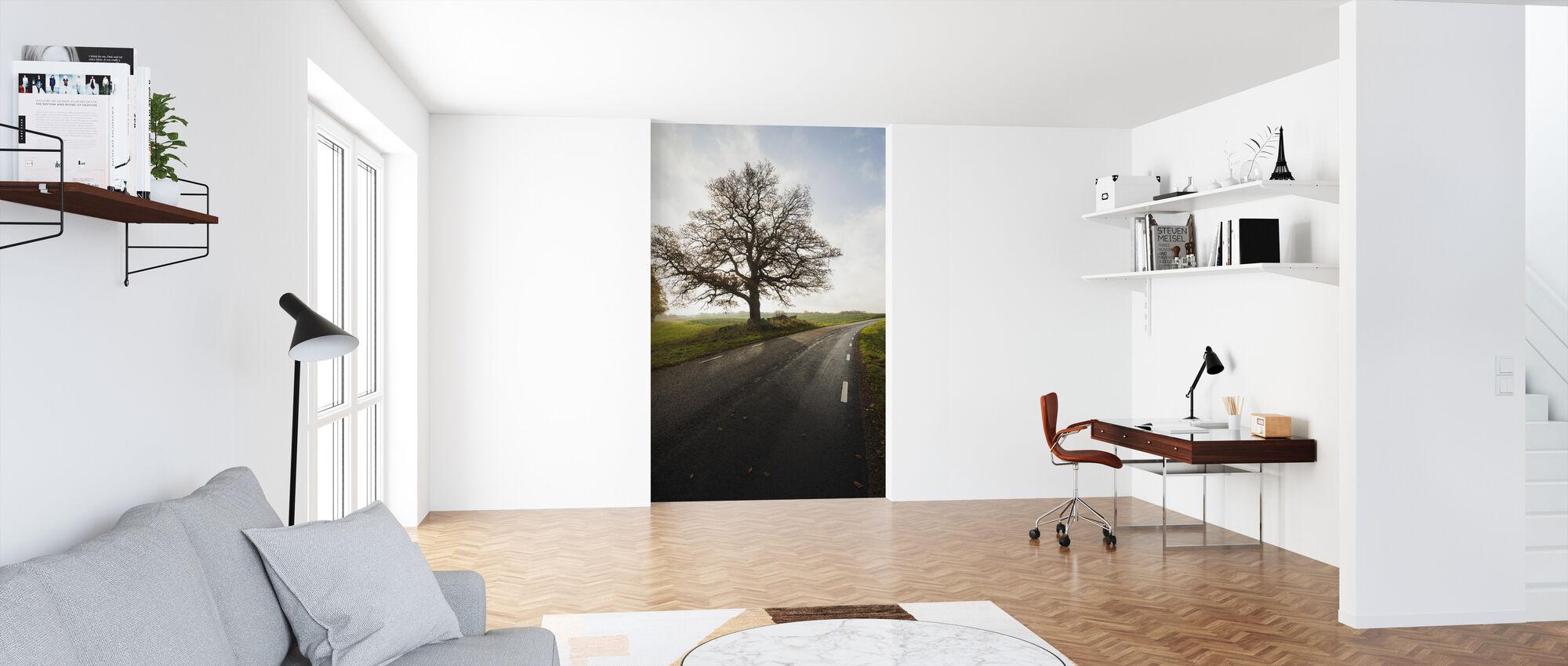 Majestic Tree by Road - Wallpaper - Office
