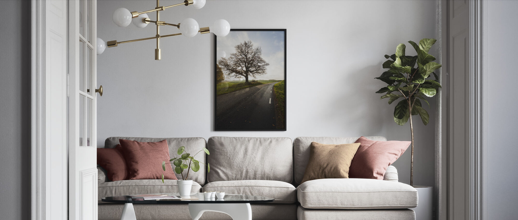 Majestic Tree by Road - Framed print - Living Room