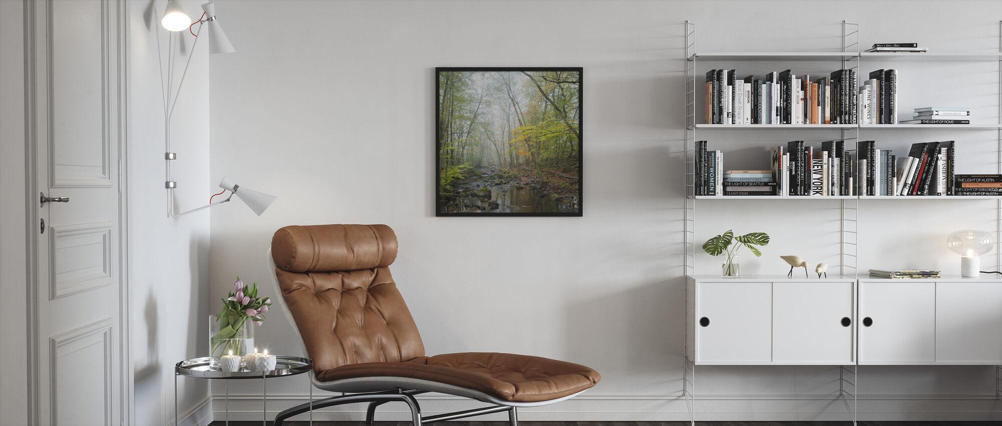 Stream in Swedish Beech Forest I - Framed print - Living Room