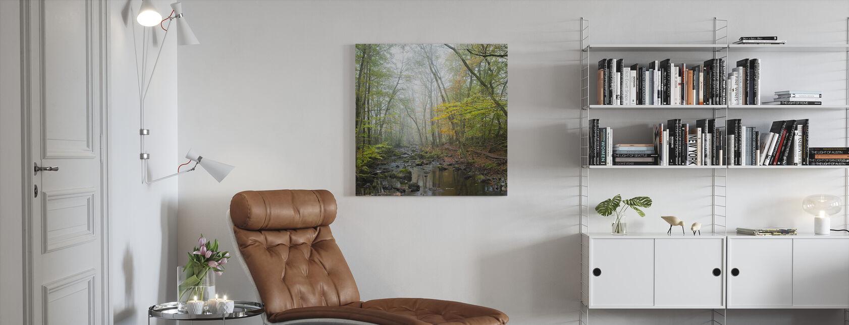Stream i Svensk Bøg Forest I - Billede på lærred - Stue