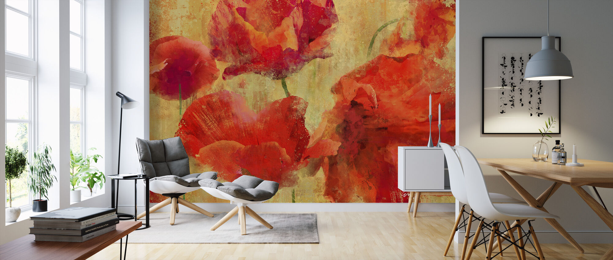 Expressive Flowers - Wallpaper - Living Room