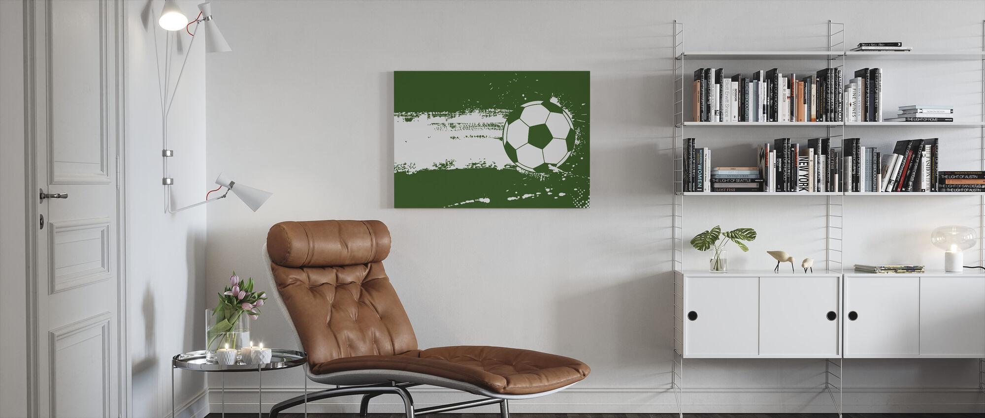 Groen Voetbal - Canvas print - Woonkamer