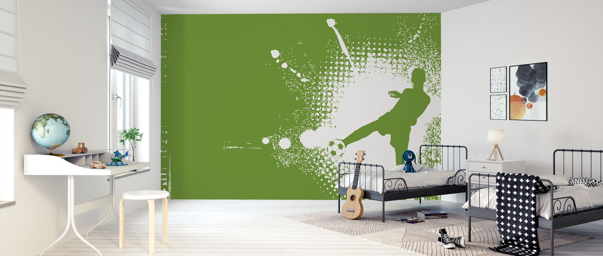 Soccer Player Green - Wallpaper - Kids Room