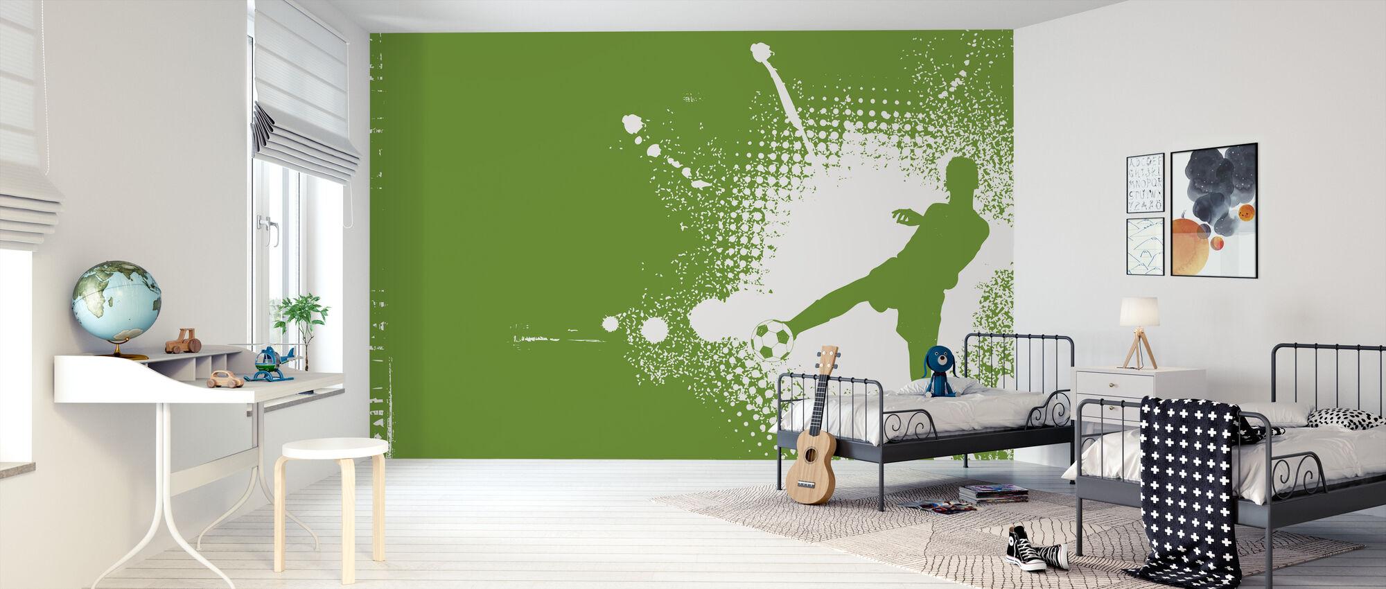 Fußball Spieler Grün - Tapete - Kinderzimmer