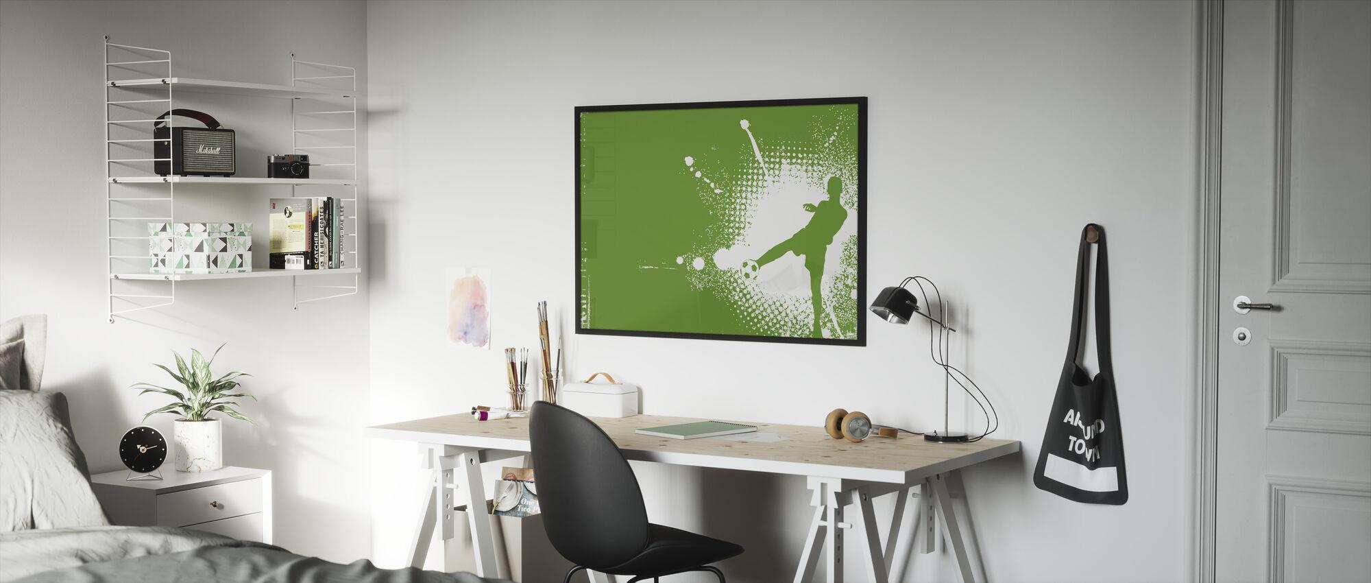 Soccer Player Green - Framed print - Kids Room