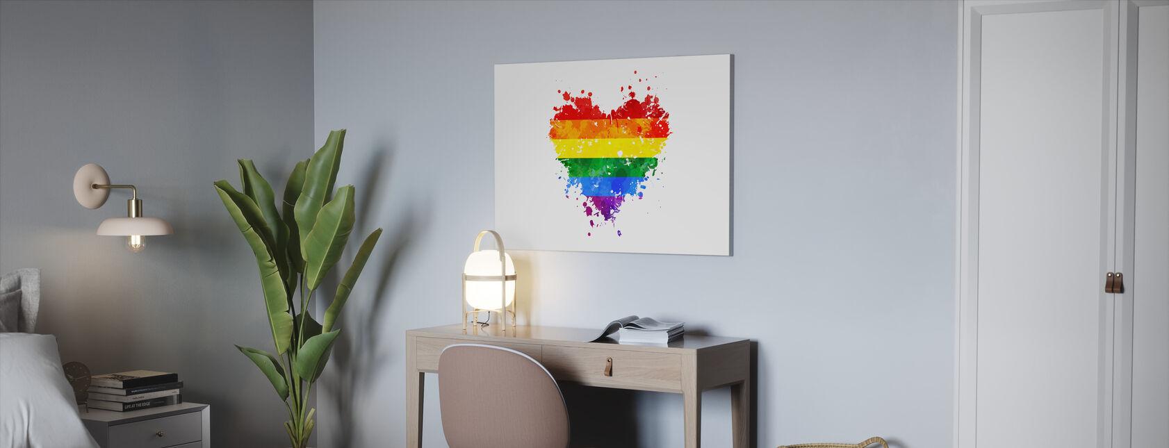 LGBT Grungy Heart - Canvas print - Office