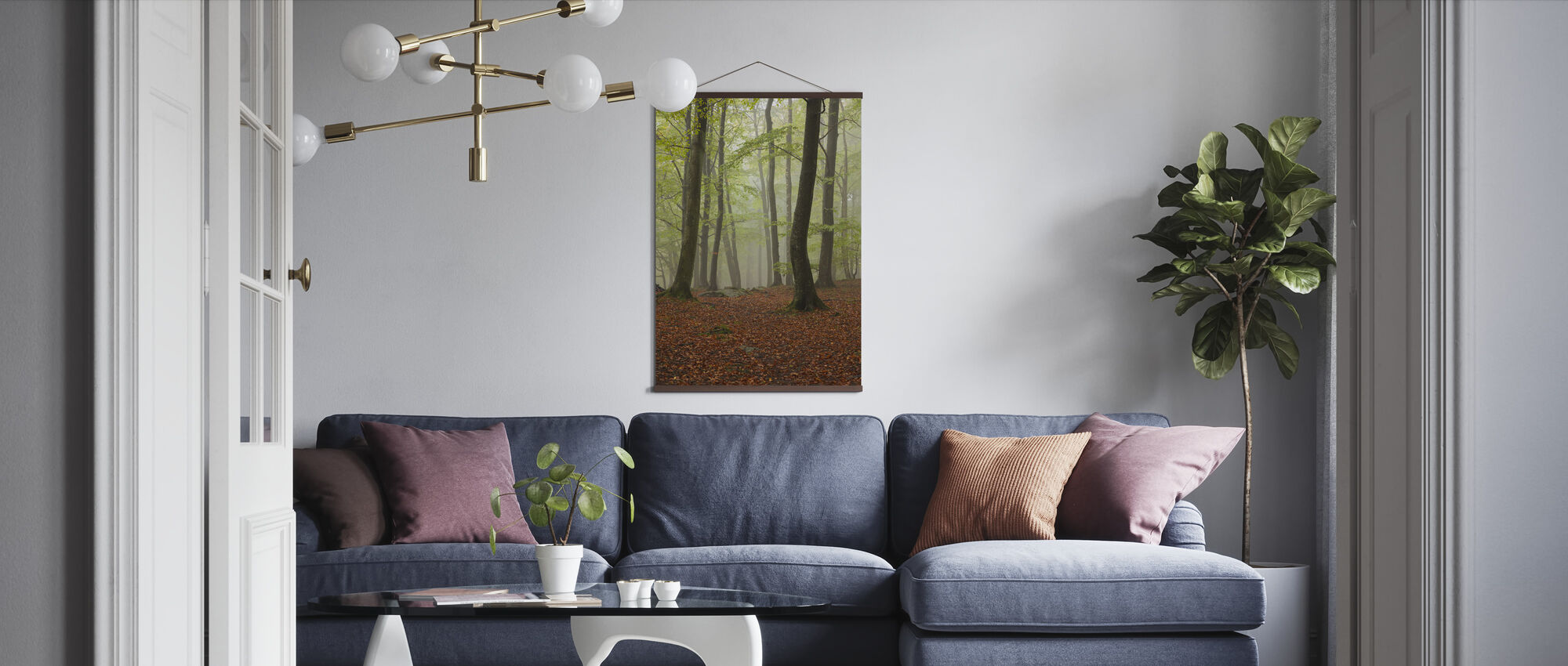 Clowing Hallar Beuken Forest, Zweden, Europa - Poster - Woonkamer